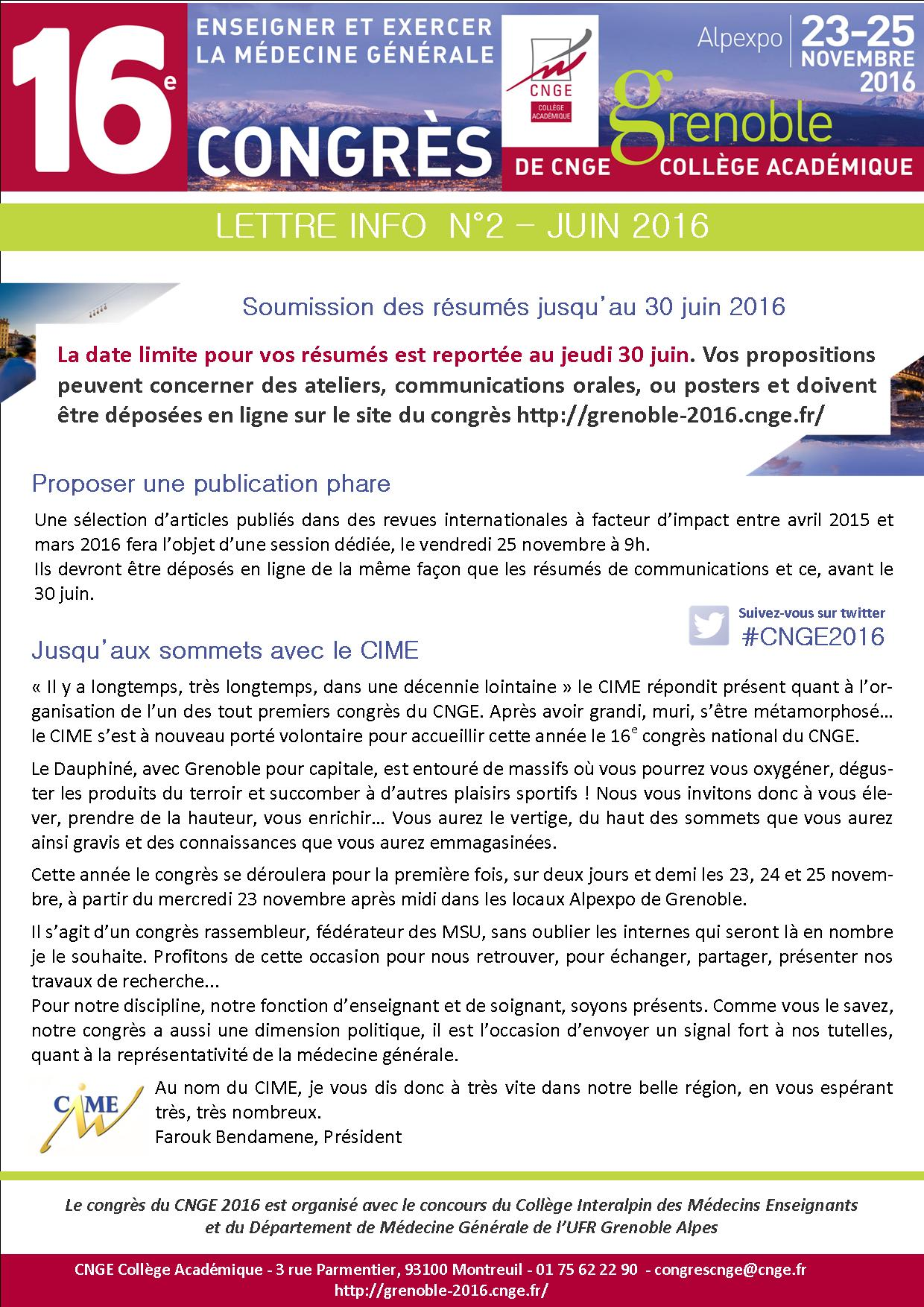 Lettre d'info congrès N°2 - Juin 2016
